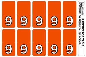 Top Tab Number labels. Sheet of 9