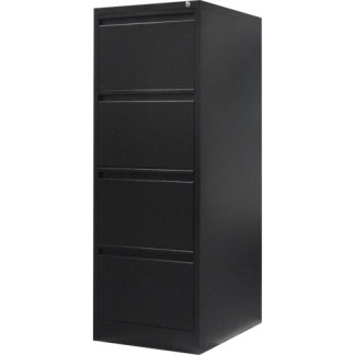 4 drawer steel filing cabinet in black