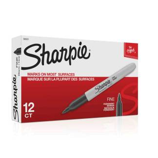 sharpie black permanent fine 12 pack