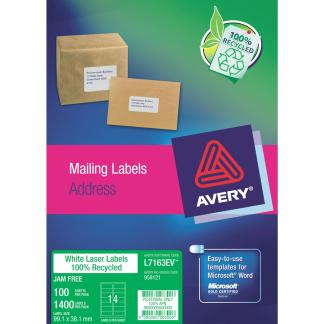 avery l7163ev enviro labels 14 to sheet