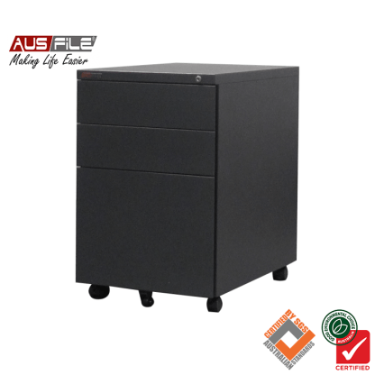 Ausfile Mobile Pedestal with 2 Pen Drawers and 1 File Drawer Graphite Ripple