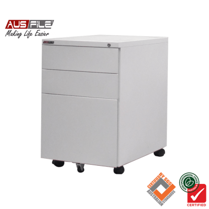 Ausfile Mobile Pedestal with 2 Pen Drawers and 1 File Drawer White Satin