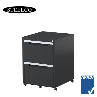 STEELCO Classic Mobile Pedestal Graphite Ripple 2 File Drawers