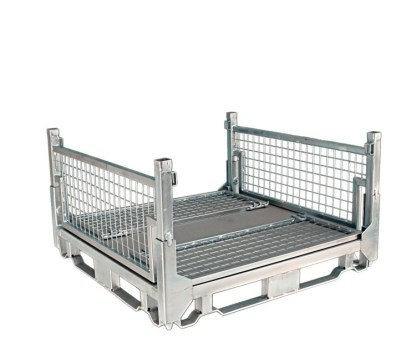 Pallet Cage Type A Sheet steel floor zinc plated 2 sides folded down