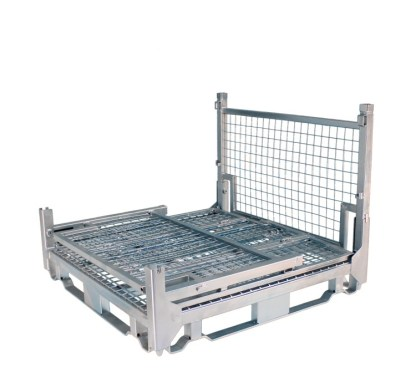 Pallet Cage Type A Single Medium Mesh Floor Zinc Plated three full sides down