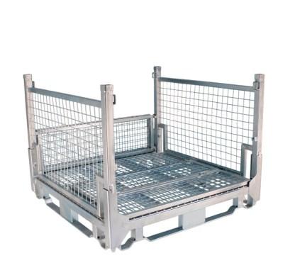 Pallet Cage Type A Single Medium Mesh floor hot dip galvanised one full side down one half side down