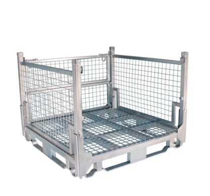 Pallet Cage Type A Single Medium Mesh floor hot dip galvanised one side removed