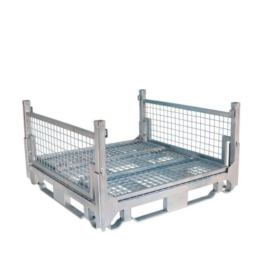 Pallet Cage Type A Single Mesh floor hot dip galvanised two sides folded down