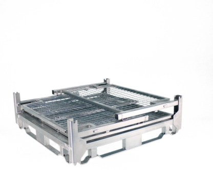 Pallet Cage Type A Single medium sheet steel floor zinc plated all sides folded down