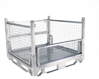 Pallet Cage Type A Single medium sheet steel floor zinc plated three full sides up, one side half up