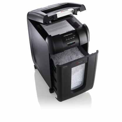 Rexel Auto+ 300M shredder open front quarter