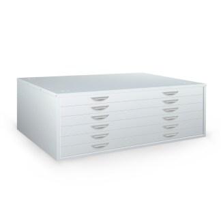 Brownbuilt Horizontal Plan Cabinet 6 drawer silver grey