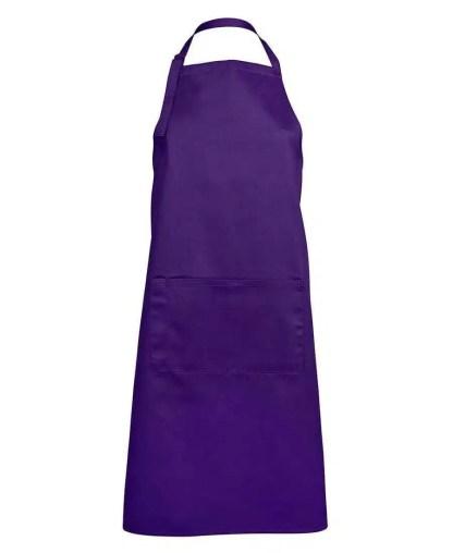 Bib Apron With Pocket - Purple