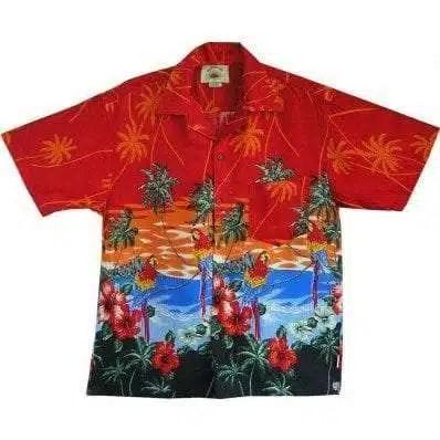 Big Island Hawaiian Shirts - Parrot Red