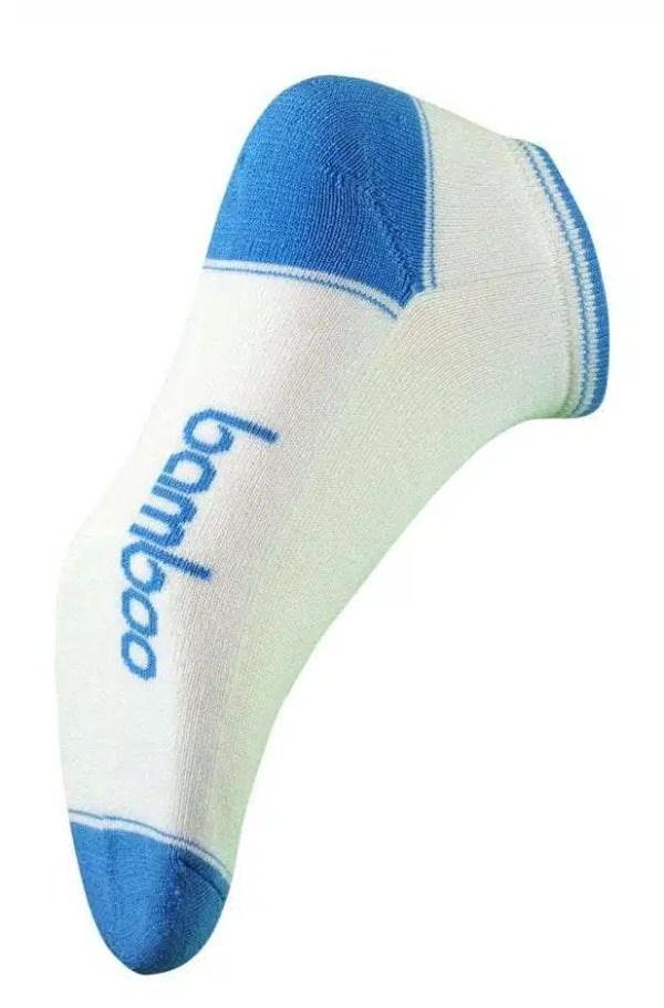 Bamboo Sport ped Socks- White/Sky Blue