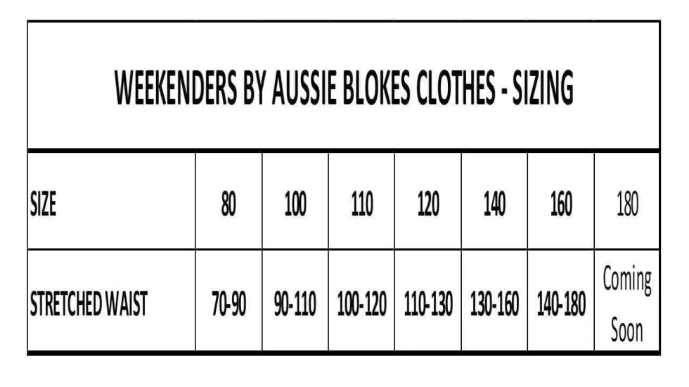 Weekenders Size Charts