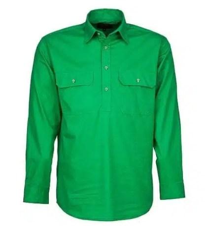 Pilbara Half Button Shirt - Long - Emerald