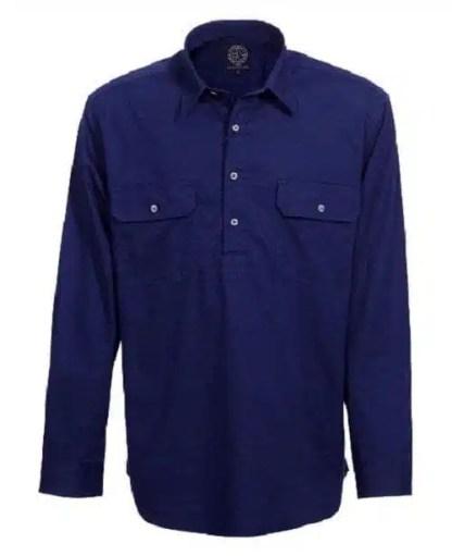 Pilbara Half Button Shirt - Long - French Navy
