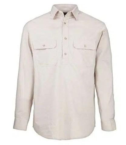Pilbara Half Button Shirt - Long - Stone