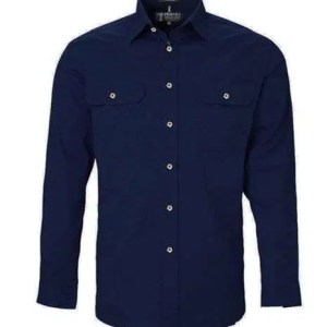 Pilbara LS Full Button French Navy