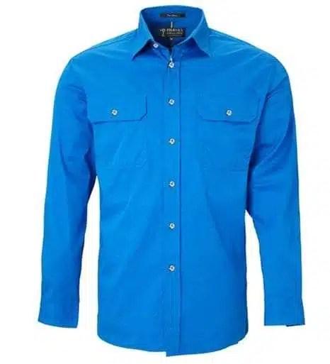 Pilbara LS Full Button Lt Blue