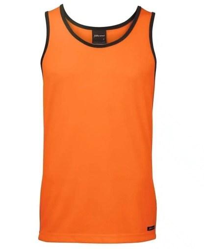 Hi Vis Singlet Orange-Navy contrast