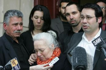 The Halvagis family at the Supreme Court in Melbourne.