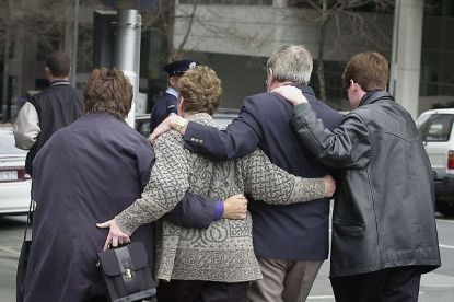 The parents of Nicole Patterson outside the Supreme Court to hear the sentencing of Peter Dupas.