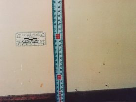 Evidence markings show where blood splatters appeared on the walls of the house where Elisabeth Membrey was living.