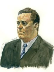Shane Bond as he was depicted in a Supreme Court bail hearing in July 2010 in connection with the murder charge.
