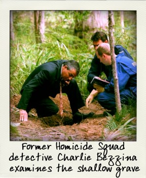 Former Homicide Squad detective Charlie Bezzina examines the shallow grave-pola