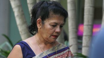 Shirley Singh today denied that accused murderer Max Sica spent the night with her family at a Gold Coast hotel