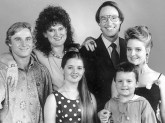 The cast from TV show Hey Dad! Robert Hughes, back row right, with from left to right Ben Oxenbould, Julie McGregor, Sarah Monahan, Mathew Krok and Rachael Beck in 1992.