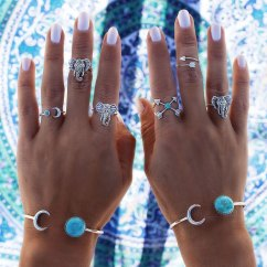 Beautiful Elephant Turquoise knuckle rings