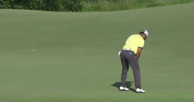 Check out this monster double-breaking putt from Hideki Matsuyama