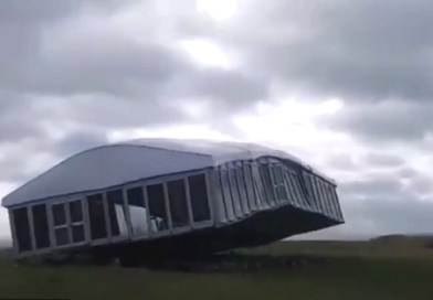 Watch this golf hospitality tent get blown away and destroyed in Scotland