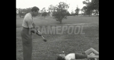 VINTAGE VIDEO / American golf trick shot artist at Castle Hill in 1952