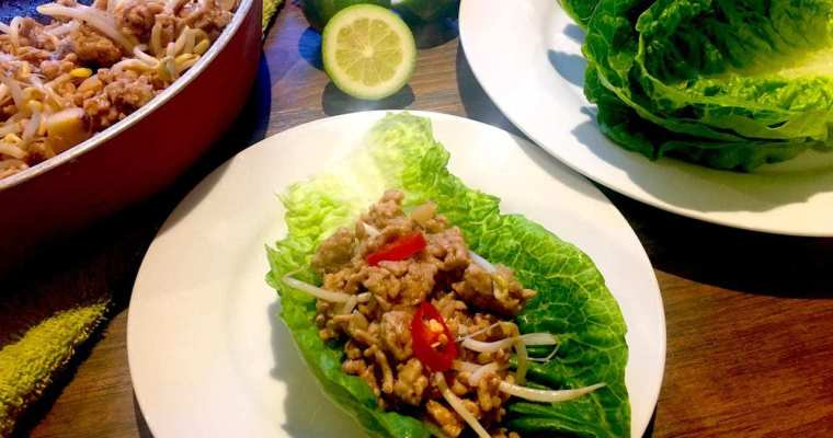 San Choy Bow / Sang Chow Bau – Chinese Mince in Lettuce Cups
