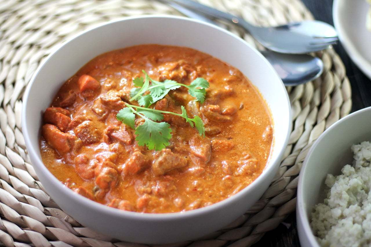 Keto Butter Chicken, Garlic Naan & Coconut Rice