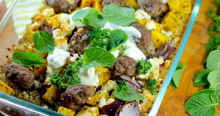 Oven Baked Keto Lamb Koftas, Pumpkin & Cous Cous