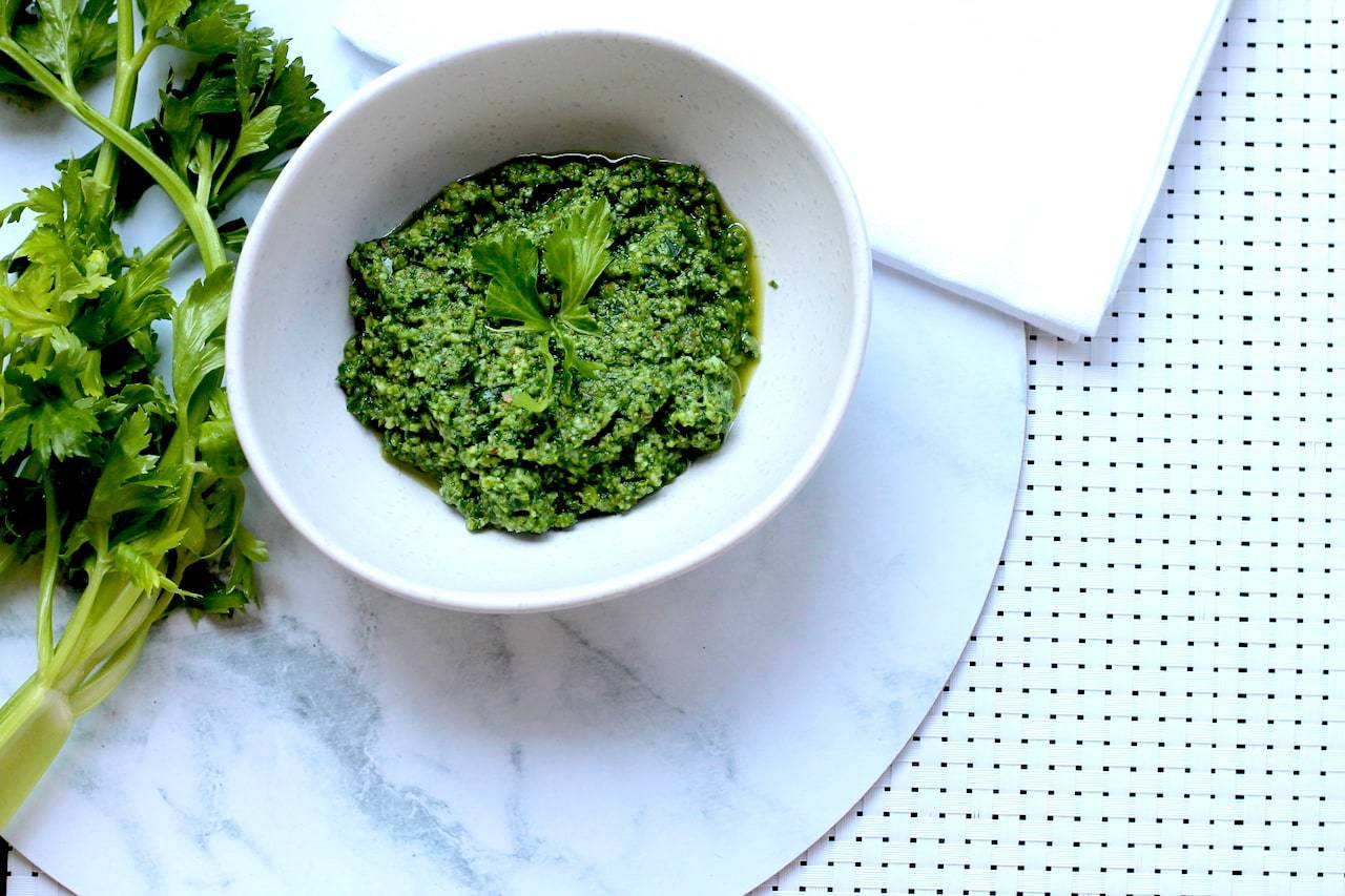 Keto Pesto Using Celery Leaves