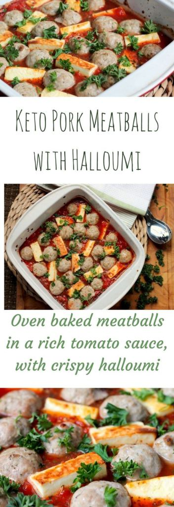 Keto Pork Meatballs with Halloumi