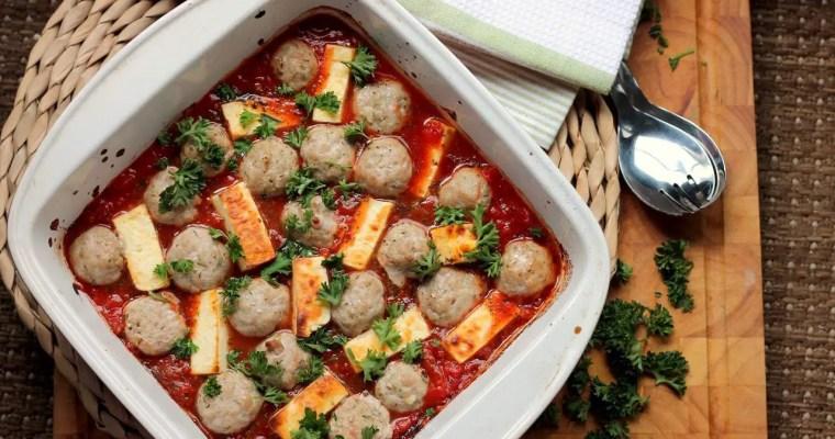 Keto Pork Meatballs with Halloumi