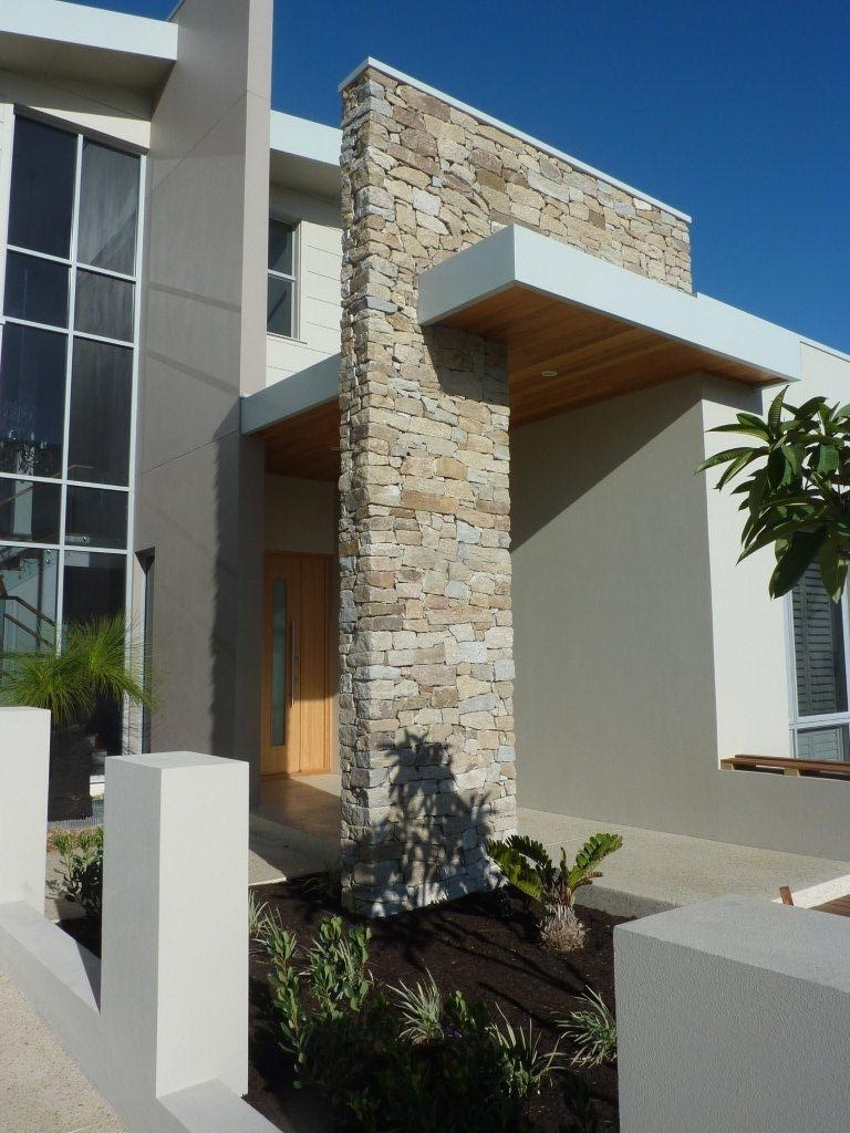 Franklin stone walling used as exterior walling claddings in a house design