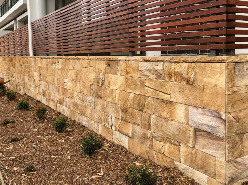 Aussietecture stone supplier Split face sandstone wall cladding used in house exterior wall project