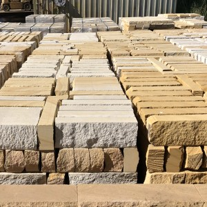 Stock of Split stone blocks seen in factory of Aussietecture stone supplier