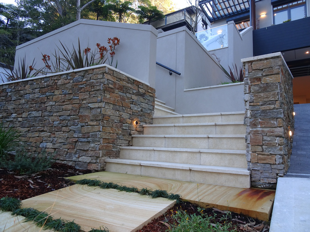 appin stone tiles and pavers used at external staircase together with stone walls