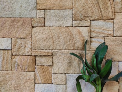 Natural stone wall cladding for stone feature wall