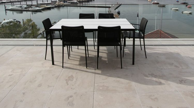 Project of a residential house floors for an outdoor entertaining place using Cattai marble paving stone