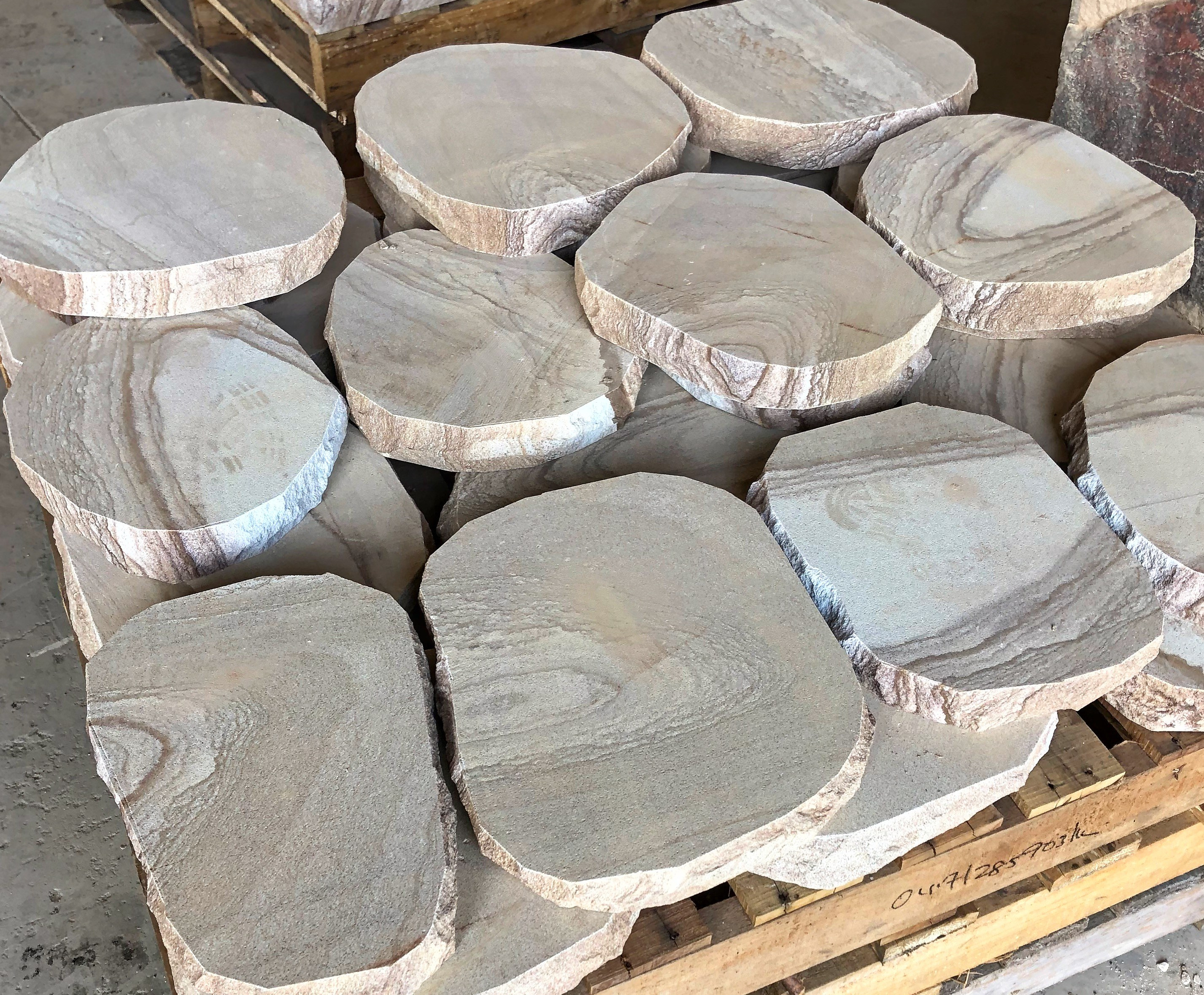 Stone steppers seen in a pallet and ready to be shipped to designers, builders and landscapers